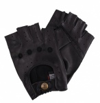Dents Fingerless Leather Driving Gloves - Black