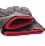 Dents Men's Black Leather Gloves - Red Cashmere Lining