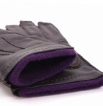 Dents Men's Brown Leather Gloves - Purple Cashmere Lining