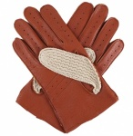 Dents Men's Driving Gloves - Cotton Crochet & Cognac Leather