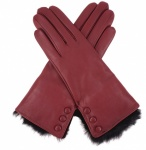Dents Ladies Fur Trimmed Leather Gloves - Claret