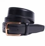 Plain Black Leather Classic 30mm Belt by Dents