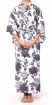 Ladies Cotton Kimono - White Chrysanthemum