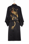 Men's Embroidered Rising Dragon Happi Kimono - Black