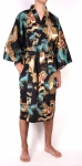 Men's Cotton Happi Kimono - Black & Gold Dragon & Eagle