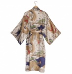 Men's Silk Happi Kimono - Navy Sea Dragon