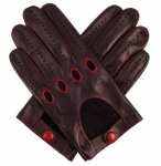 Men's Leather Driving Gloves - Black & Red