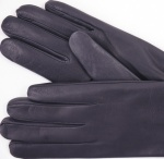 Womens Slate Grey Leather Gloves - Cashmere Lining