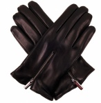 Men's Leather Zipped Glove - Black