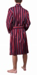 Men's Lightweight Cotton Dressing Gown -Navy & Wine Stripe