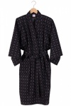 Men's Cotton Happi Kimono - Black Argyle Print