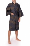 Men's Cotton Happi Kimono - Black Cloud