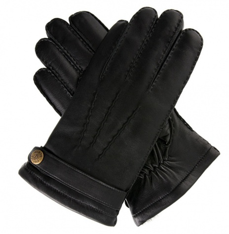 Dents Carlisle Men's Fur Lined Black Leather Gloves
