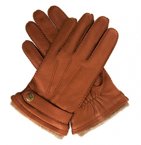 Dents Men's Deerskin Gloves with Cashmere Lining - Havana