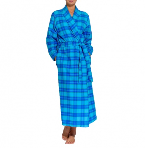 British Boxers Ladies Robe - Turquoise Check