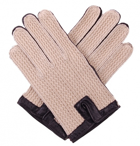 Cotton Crochet & Black Leather Men's Driving Gloves