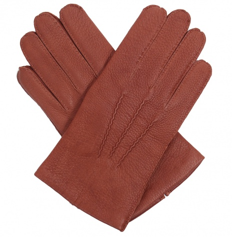 Men's Cashmere Lined Tobacco Deerskin Gloves