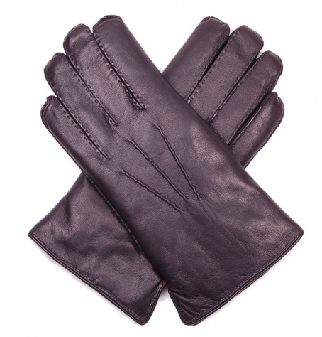 Men's Fur Lined Black Nappa Gloves