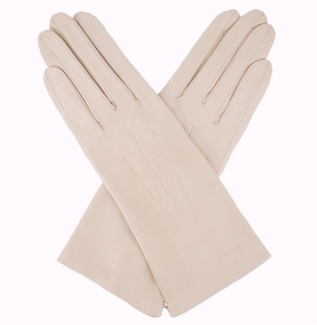 Dents Ladies Silk Lined Leather Gloves - Parchment