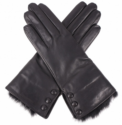Dents Ladies Fur Trimmed Black Leather Gloves
