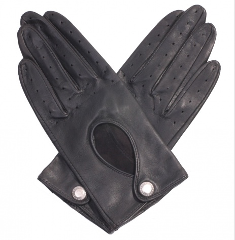 Dents Ladies Black Leather Driving Gloves