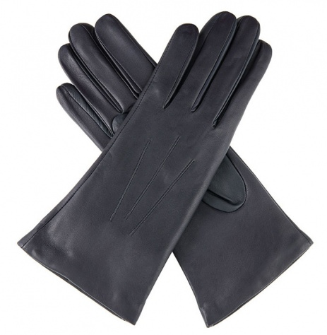Dents Ladies Cashmere Lined Navy Blue Leather Gloves