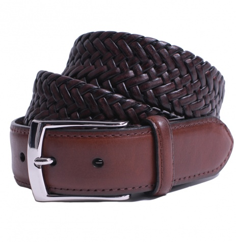 Plaited Dark Brown Leather Belt by Dents