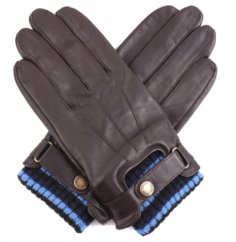 Dents Men's Leather Gloves - Knitted Cuff - Brown