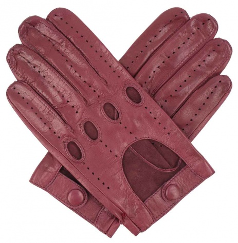 Men's Leather Driving Gloves - Bordeaux
