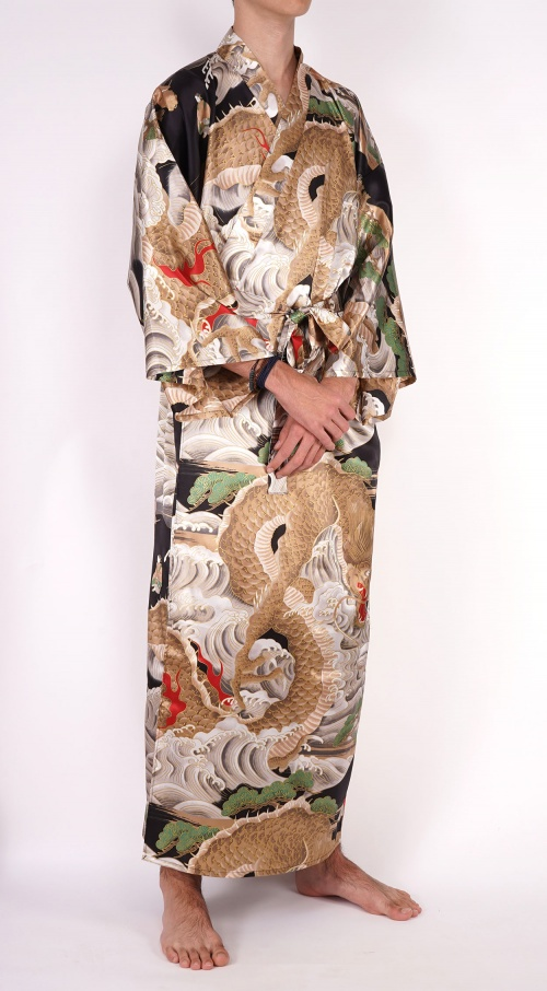 Men's Silk Kimono - Black Sea Dragon