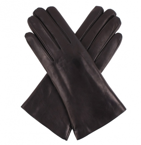 Womens Ebony Leather Gloves - Fur Lining