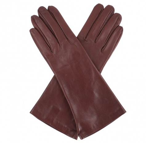 Womens Chestnut Longer Leather Gloves - Silk Lining