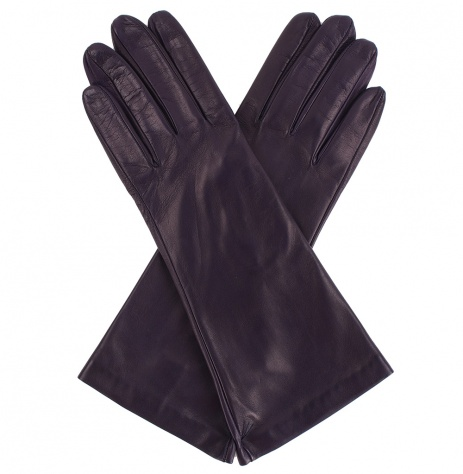 Womens Ink Blue Longer Leather Gloves - Silk Lining