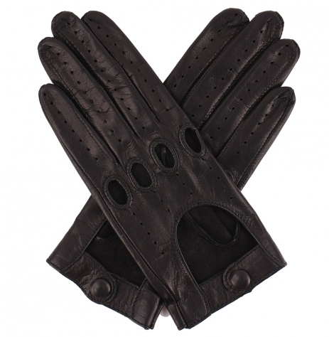 Womens Leather Driving Gloves - Black