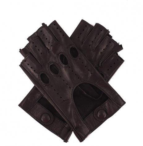 Womens Leather Fingerless Driving Gloves - Black