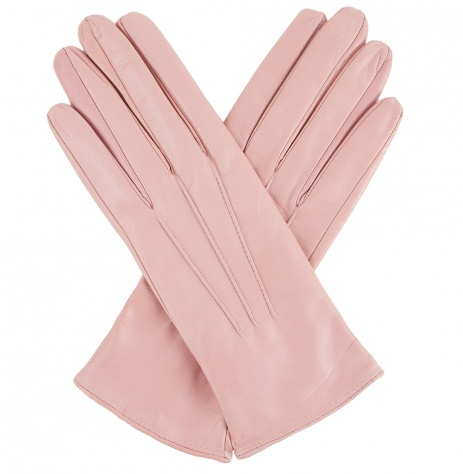 Womens Rose Pink Leather Gloves - Silk Lining