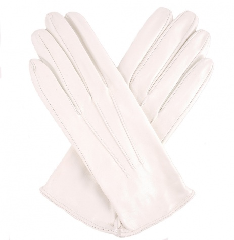 Womens White Leather Gloves - Silk Lining