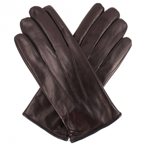 Men's Fur Lined Black Leather Gloves