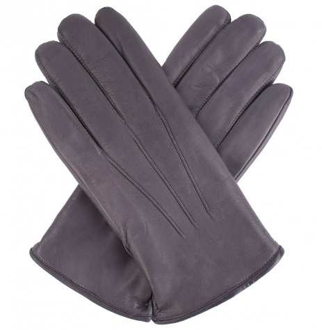 Men's Fur Lined Grey Leather Gloves