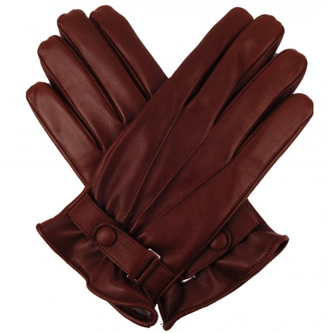 Men's Glove with Wrist Strap - Cognac