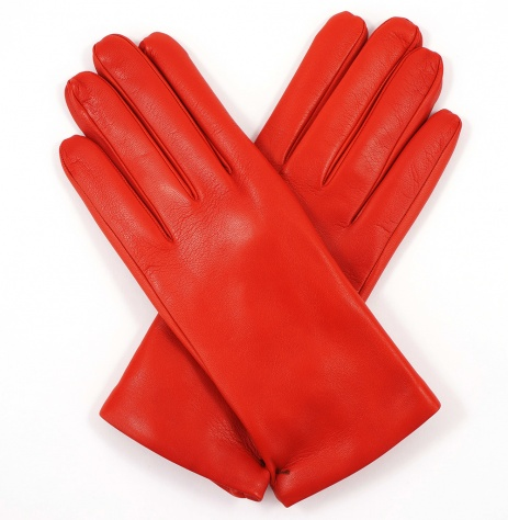 Womens Flame Red Leather Gloves - Cashmere Lining