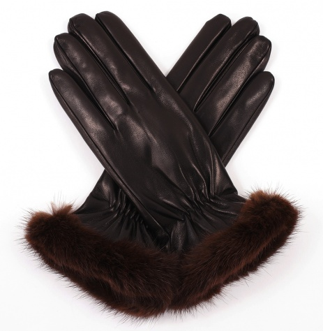 Womens Black Leather Gloves with Mink Trim