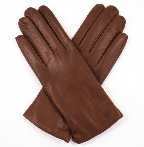 Womens Tobacco Leather Gloves - Cashmere Lining