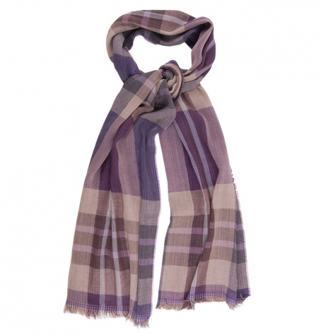 Lightweight Wool Scarf - Violet & Brown