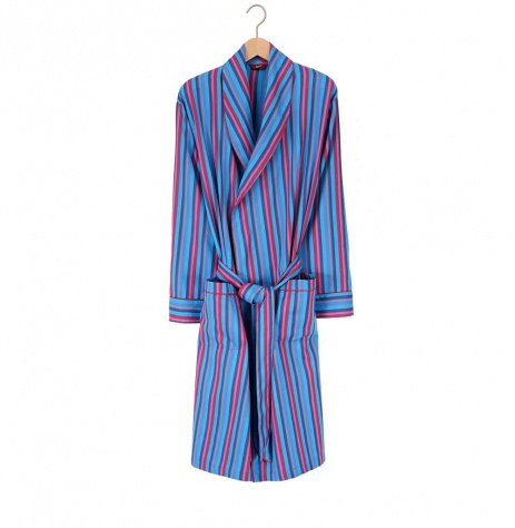 Men's Lightweight Dressing Gown - Turquoise Stripe