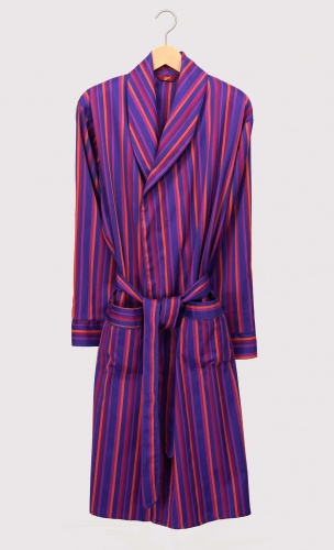 Men's Lightweight Dressing Gown - Purple Stripe