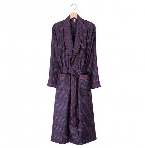 Tom Dick and Harry Men's Silk Dressing Gown - Navy-Red Spot