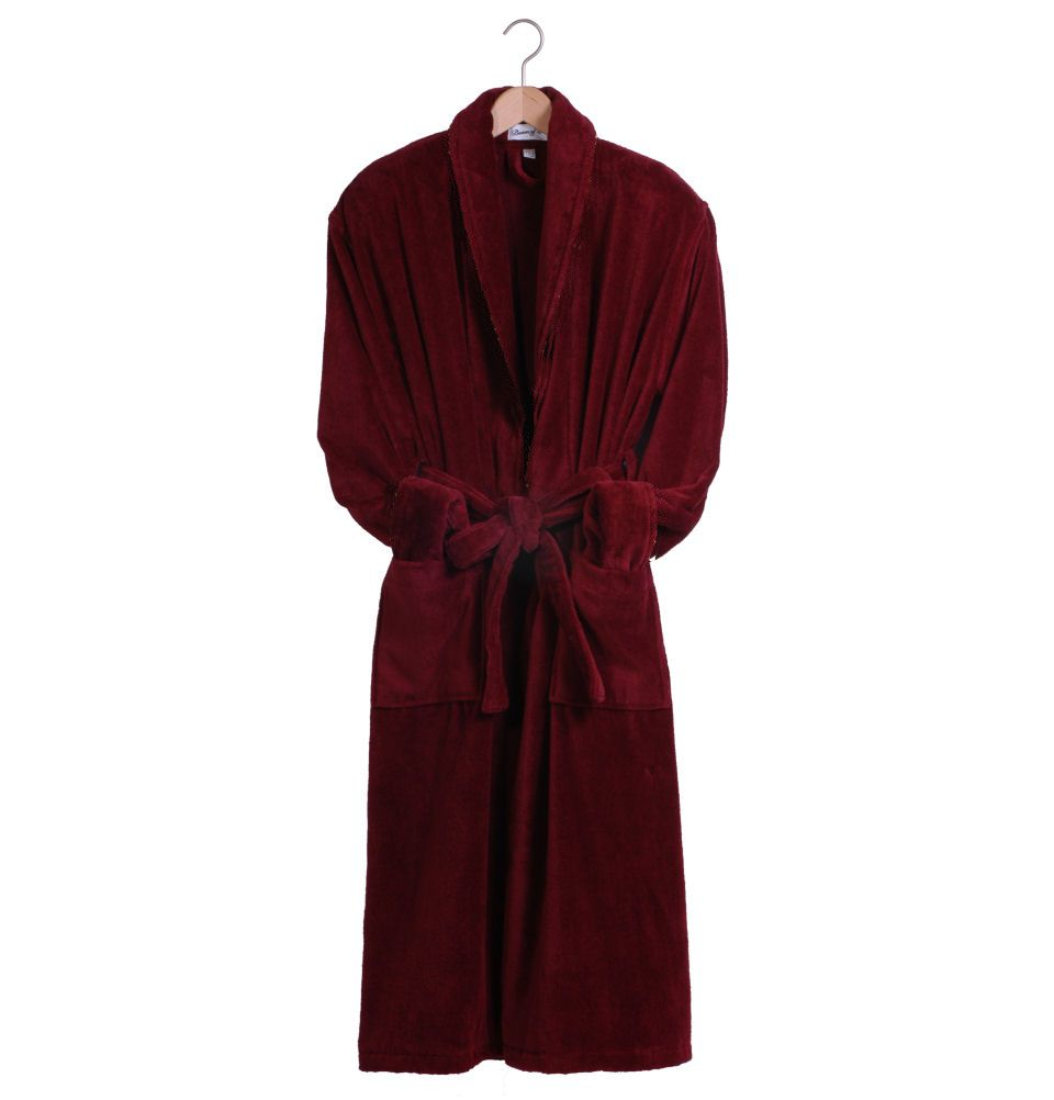 Tom Dick And Harry Mens Claret Cotton Velours Dressing Gown