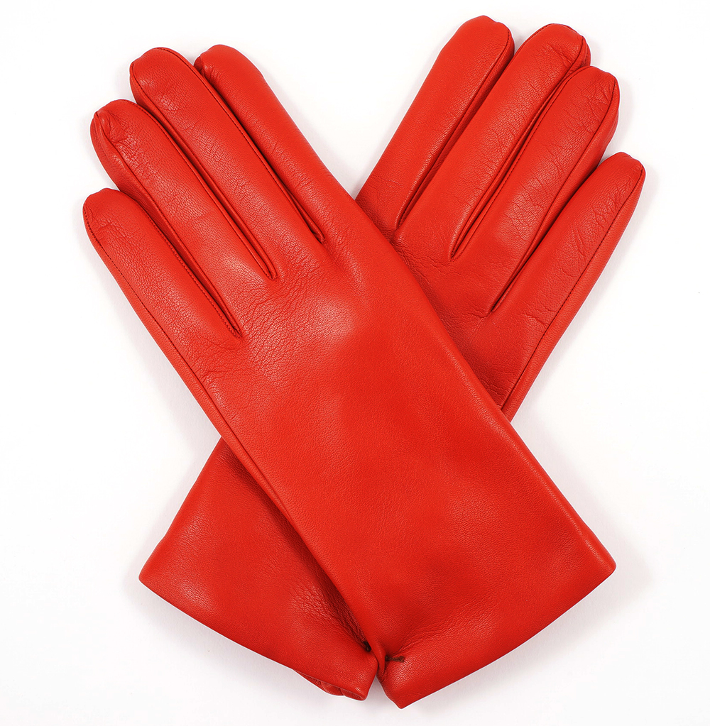 Tom Dick And Harry Womens Flame Red Leather Gloves Cashmere Lining Glove