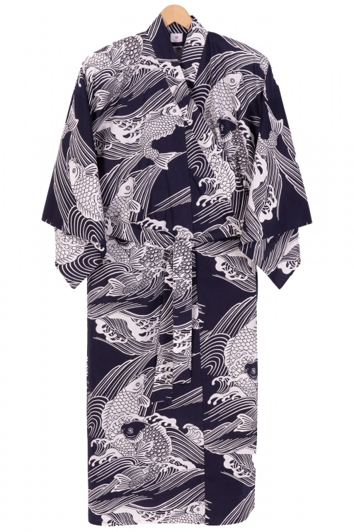 Men's Cotton Yukata - Navy Carp - 2XL to 4XL
